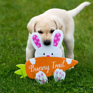 Puppy peeking through bunny ears