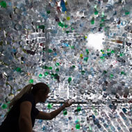 Art installation uses 15,000 discarded plastic bottles